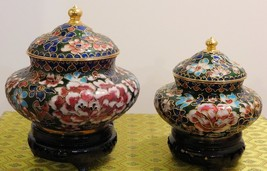 Cloisonne Black Vase and Flowers with matching Wood Stand - $53.96