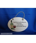 Old Friends Art Pottery Plaque from August Ceramics Perfet Gift - $4.99