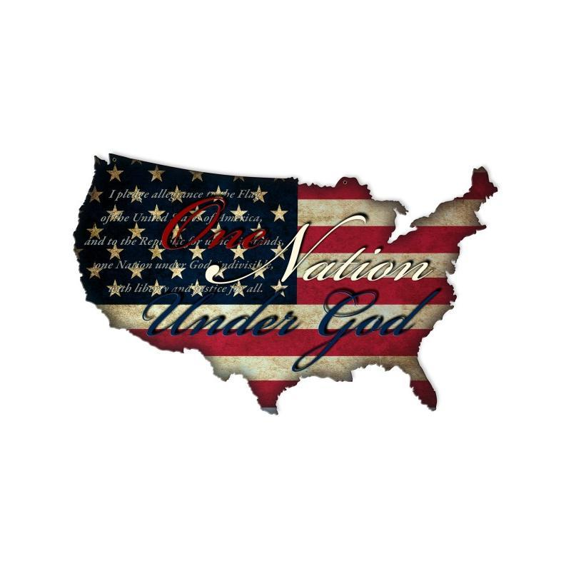 Usa one nation under god flag map 25x16 metal sign retro for Decor nation