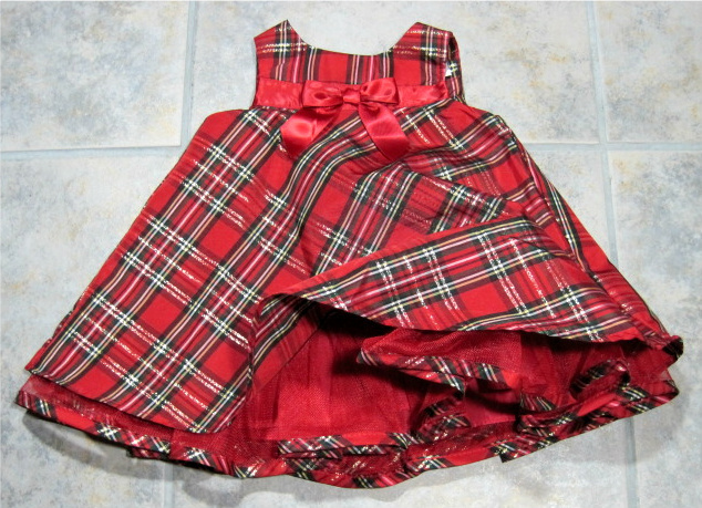 Girls Red Green Plaid Dress Size 12 Months Velvet Jacket Youngland Holiday