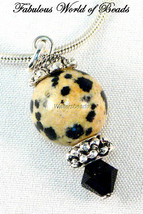 Ball Pendant Dalmatian Stone & Black Austrian Crystal Sterling Silver 925 - $10.83