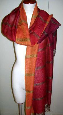 Primary image for Red weaved shawl,scarf mix Babyalpaca wool and Silk
