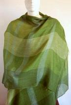 Green weaved shawl,scarf of Babyalpaca wool with Silk - $89.00
