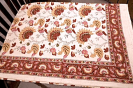 """Vintage Natural Cotton Tablecloth 60""""x90"""" - Feedsack like material. #5053 - $19.99"""