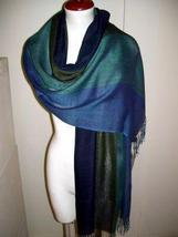 Weaved blue shawl, mix Babyalpaca wool and Silk - $95.00