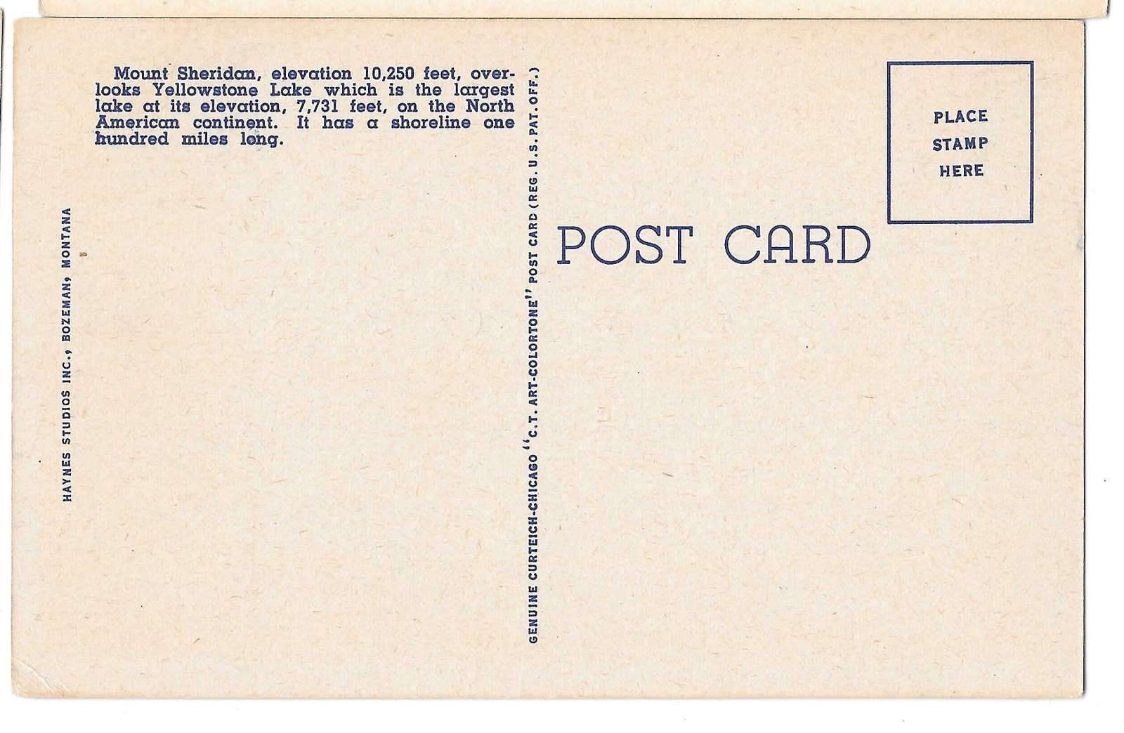WY Yellowstone Lake and Mt Sheridan Vtg Haynes National Park Postcard