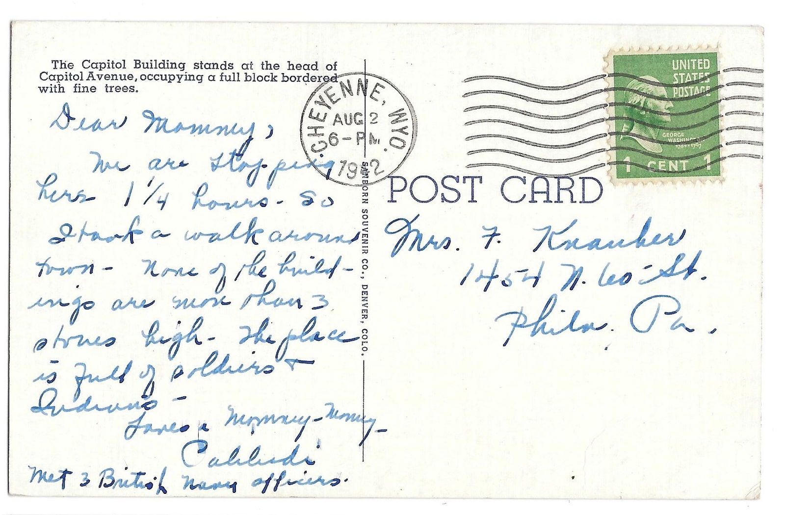 WY Cheyenne Capitol Building Vtg Linen Postcard 1942 Wyoming State