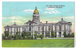 WY Cheyenne Capitol Building Vtg Linen Postcard 1942 Wyoming State - $4.99