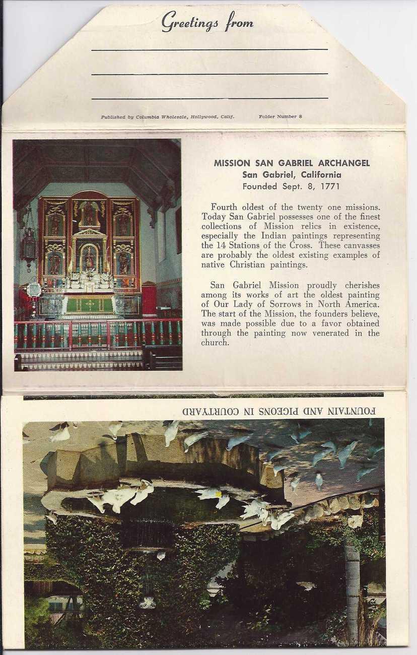 MISSION SAN GABRIEL, CALIFORNIA Souvenir PostCard Picture Pack of 13