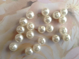 White Faux Pearl Bead 8mm Lot of 25 Jewelry Mak... - $2.50