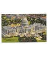 Washington DC Capitol United States Aerial View Vtg Linen Postcard - $4.99