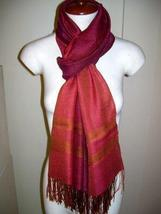Red weaved shawl,a mix of Babyalpaca wool and Silk - $89.00