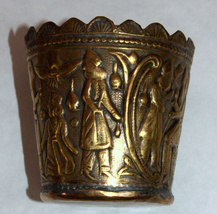 Antique Persian Copper Small Cup Hand Etched Traditional Persepolis Embossed