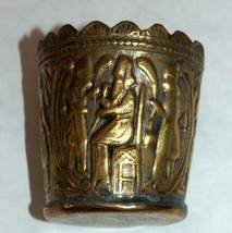 Antique Persian Copper Small Cup Hand Etched Traditional Persepolis Embossed image 2