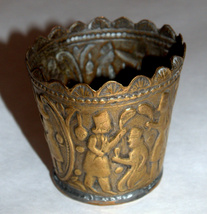 Antique Persian Copper Small Cup Hand Etched Traditional Persepolis Embossed image 6