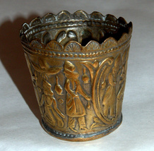 Antique Persian Copper Small Cup Hand Etched Traditional Persepolis Embossed image 11