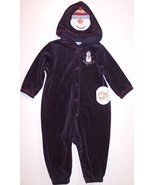 NWT All Mine Boy's Black Velour Snowman 1 Pc Romper Coverall with Hood, ... - $13.99