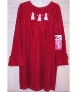 NWT Just Friends Girl's Red Velour Snowman Holiday Christmas Dress, XL (6X) - $16.99