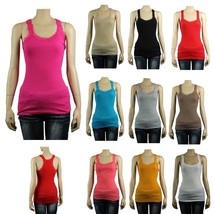 Basic Lace Trim V-Neck X-Back TANK TOP 2*2 Stretchy Casual 100% Cotton Top SML - $6.99