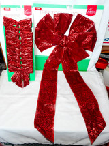 "Christmas Tree Topper Bow 24""X11"" & 10 Pack Of Mini Bows 4""x4 1/2"" Deep ... - $5.89"