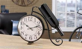 Bicycle Design Clock & Wine Bottle Holder Vintage Inspired Rustic Black Iron NEW