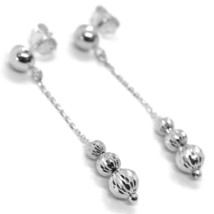 18K WHITE GOLD PENDANT EARRINGS THREE FACETED WORKED BALLS SPHERES image 1