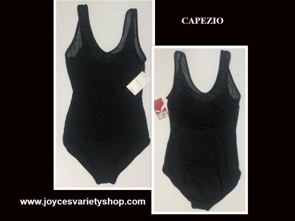 Capezio Leotard Unitard Black Sheer Top Sz L I15