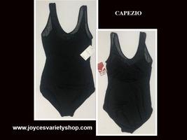 Capezio Leotard Unitard Black Sheer Top Sz L I15 image 1
