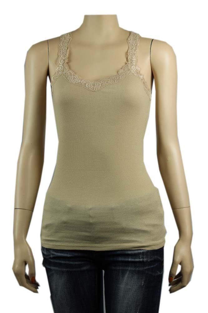 Basic Lace Trim V-Neck X-Back TANK TOP 2*2 Stretchy Casual 100% Cotton Top SML