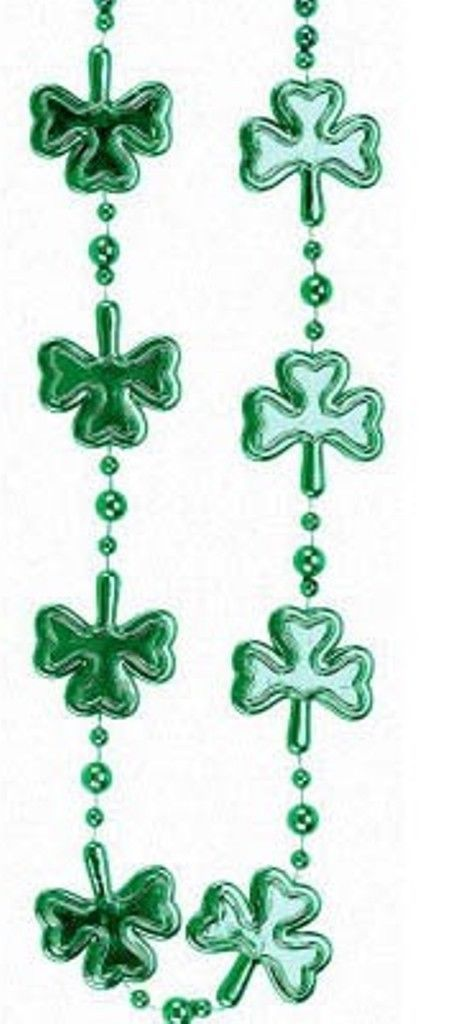 Green Multi Shamrock St Patricks Day Mardi Gras Bead Clover Beads 36""