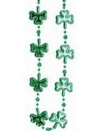 "Green Multi Shamrock St Patricks Day Mardi Gras Bead Clover Beads 36"" - £4.28 GBP"