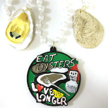 Eat Oysters Love Longer Pendant Mardi Gras Necklace Beads Bead - $9.13 CAD