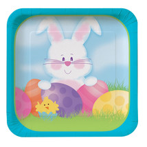 Easter Bunny's Gift Dessert Plates Square Deep Dish 8 ct Spring Party - $2.94