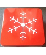 Christmas Holiday Red Snow Flake Square Cookie Gift Tin 7.5 by 7.5   - $3.00
