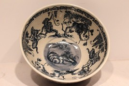 Unique Vintage Oriental Blue & White Porcelain  Round Bowl Monkey Design... - $125.59