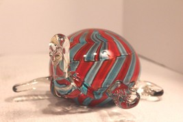 Murano  Art Glass Turtle Orange & Light Blue - $19.24