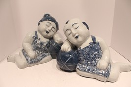 Unique Pair of Blue and White Porcelain Sleeping Boy and Girl Thailand - $290.07