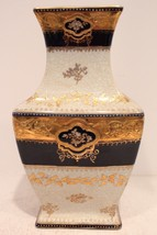 Vintage White Porcelain Rectangular Flower Vase Gold Gild Floral Design ... - $154.62
