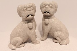 Beautiful Pair of White Crackle Porcelain Dogs - $57.87