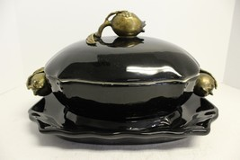 Elegant Black Porcelain Tureen with Ormolu/Brass Accents and Tray/Plate - $193.32