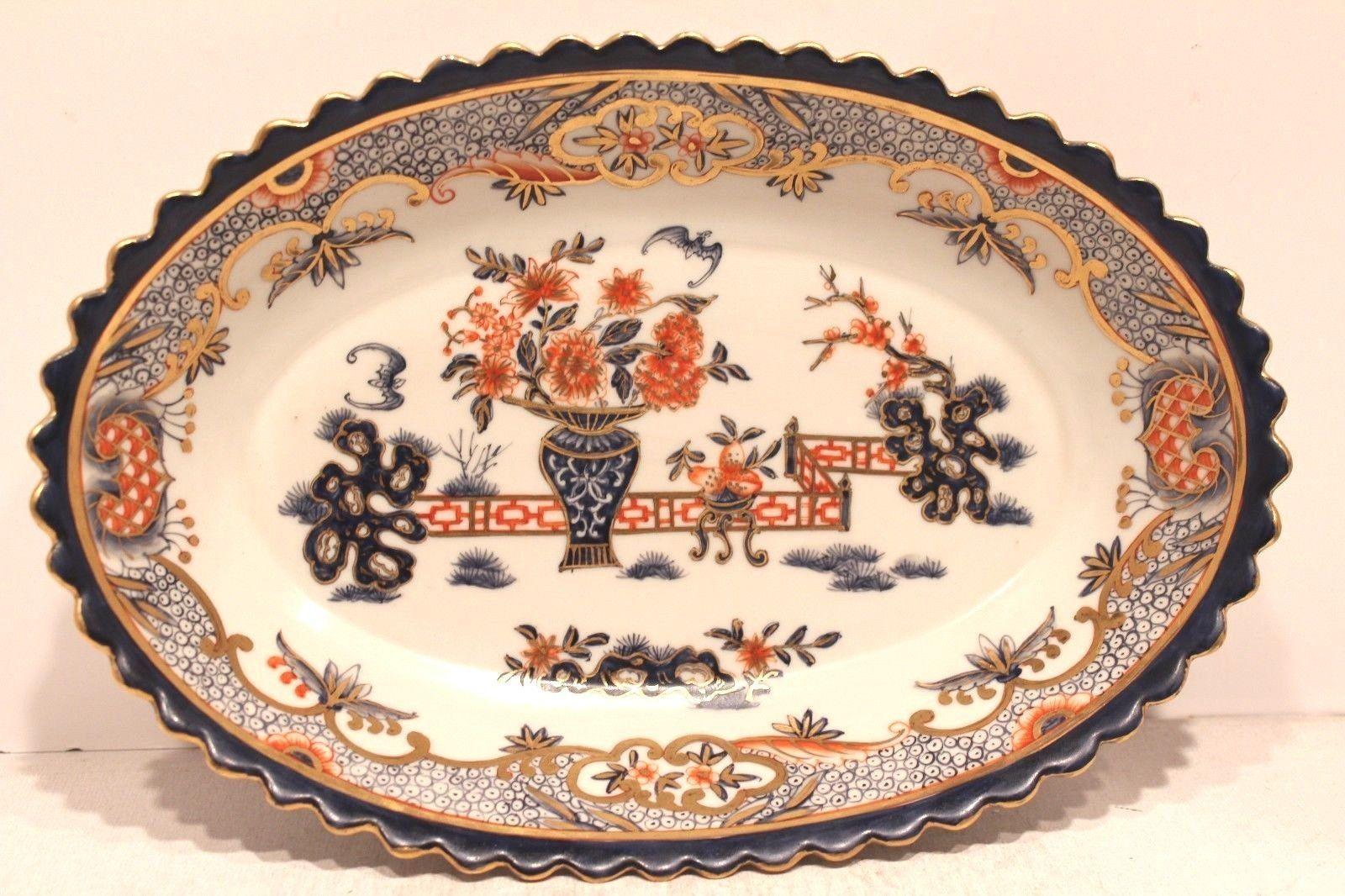 Unique beautiful chinese blue white orange porcelain Beautiful plates