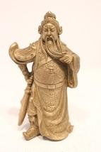 "Beautiful Bronze Kuan Kong Small Statue 4"" - $43.35"