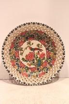 Unique Beautiful Round Hand Painted Open Work Floral & Bird Porcelain Pl... - $67.54