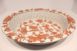 Beautiful Orange and White Porcelain Bowl 22K Gold Gilded with Flower an... - $86.89