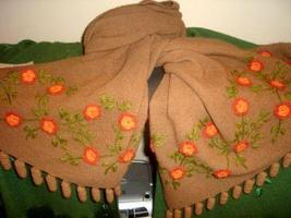 Embroidered brown shawl,wrap made of Alpaca wool - $225.00