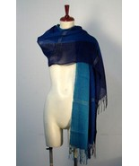Chekked weaved shawl,Babyalpaca wool with Silk - $89.00