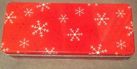 Christmas Holiday Red Snow Flake Rectangle Cookie Gift Tin 9.5 by 4 inches - $3.00