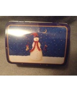Christmas Holiday Blue Snowman Stocking Rectangle Cookie Gift Tin hinged... - $3.00