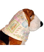 Dog Snood Soft Yellow Easter Block Print Cotton Size XL CLEARANCE - $6.75