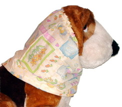 Dog Snood Soft Yellow Easter Block Print Cotton Size Puppy REGULAR CLEAR... - $5.25